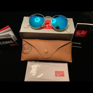 New Ray-Ban Blue Round Metal Sunglasses